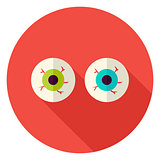 Spooky Eyeballs Circle Icon