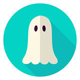 Scary Ghost Circle Icon