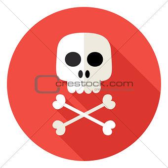 Skull with Bones Circle Icon