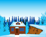 House in wood in winter