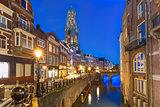 Night Dom Tower and bridge, Utrecht, Netherlands