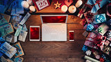 Christmas desktop with laptop and mobile devices