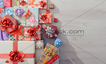 Plenty of colorful gifts on a table