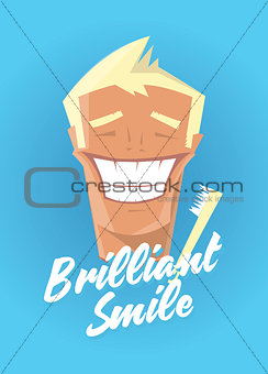 Poster with man smiling. White healthy teeth, toothbrush or toothpaste advertisement. Retro style. Denist service, stomatology