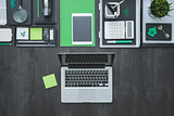Flat lay business desktop