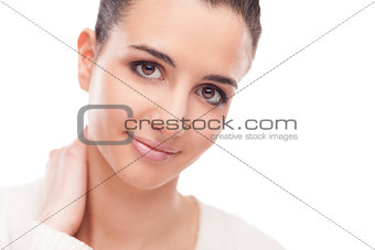 Attractive woman touching her neck