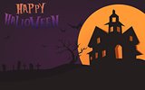 Happy Halloween Card Template, Mix, Moon and Castle, Vector Illustration