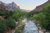 The Watchman and Virgin River from the Canyon Junction Bridge, Zion National Park, Utah, USA