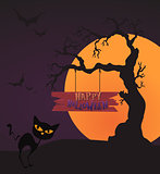 Happy Halloween Card Template, Mix, Moon and tree, Vector Illustration