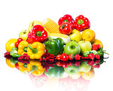Healthy vegetables and fruits on white background