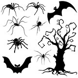 Halloween set of spiders, bats and dried tree