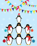 penguins winter background