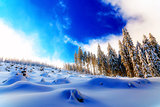 Beautiful mountain snowy landscape and snow covered trees. Beautiful sunny day in the mountains.
