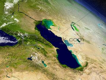 Caucasus region from space