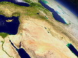 Israel, Lebanon, Jordan, Syria and Iraq region from space