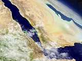 Yemen, Eritrea and Djibouti from space