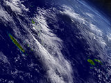 New Caledonia, Fiji and Vanuatu from space