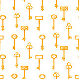 Gold keys seamless vector pattern on white. Vintage cartoon key background.