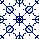 Seamless vector pattern with nautical blue helms.