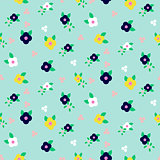 Spring small wild flower field seamless pattern.