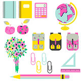 School supplies vector clip art stationery objects.