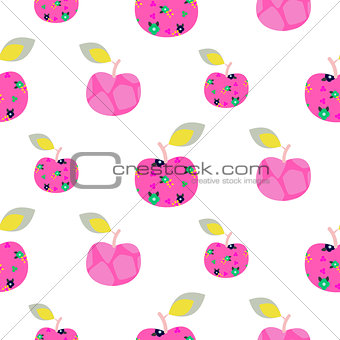 Apple pink pattern. Seamless ornament.