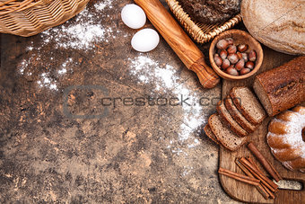 Fresh bread still life bakery product