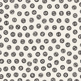 Vector Seamless Black And White Jumble Hand Drawn Circles Pattern