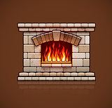 Home fireplace, christmas hearth with fire