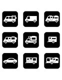 camper car black icons set