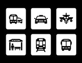 set of black transport icons