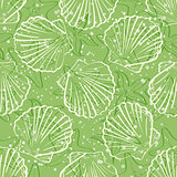 Seamless background, outline seashells