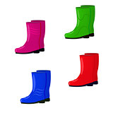 Vector illustration of a set of rubber boots