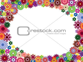 Greeting card with colourful flowers