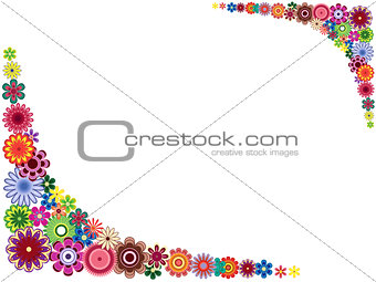 Greeting card with many colourful flowers