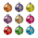 Christmas balls in various colors vector illustration.
