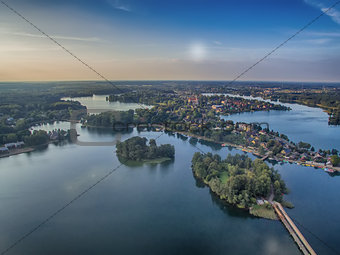 Aerial UAV top view of Trakai, Lithuania