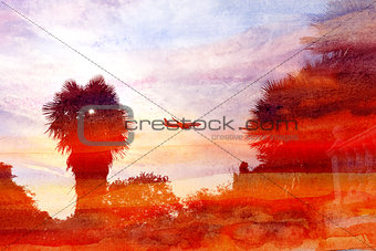 watercolor backgrounds with palm trees