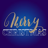 Gold hand drawn grunge lettering. Christmas style font on blue background. Vector illustration