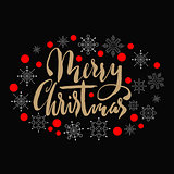 Gold textured handwritten calligraphic inscription Merry Christmas with pattern of red confetti and snowflakes. Holiday lettering. EPS10