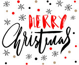 Red and black handwritten calligraphic inscription Merry Christmas with pattern of red and gold confetti and snowflakes. Holiday lettering. EPS10