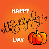 Handwritten Thanksgiving Day lettering. Vector illustration. Thanksgiving Day card template. Happy Thanksgiving banner.