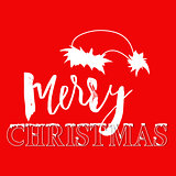 White hand drawn grunge lettering and christmas style font on red background. Silhouette of Santa Claus hat