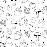 Monochrome Autumn Seamless Pattern