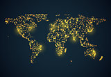 Abstrackt bright glowing map on dark blue background