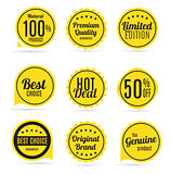 Sale and Product Quality Label Set  in Retro Colors Vector Illus