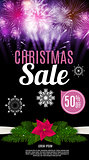 Christmas Sale Banner Background. Business Discount Card. Vector