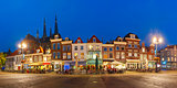 Markt square at night in Delft, Netherlands