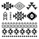 Vector folk seamless Aztec ornament, ethnic collection, tribal art