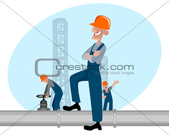 Oilman and pipe